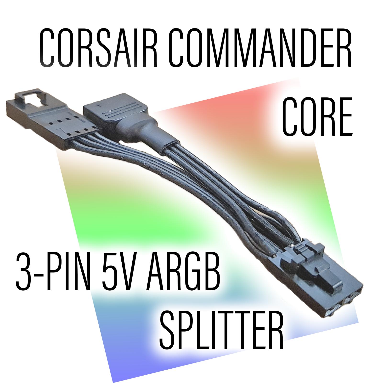 Corsair Commander Core to Standard ARGB3-Pin 5V Splitter Adapter