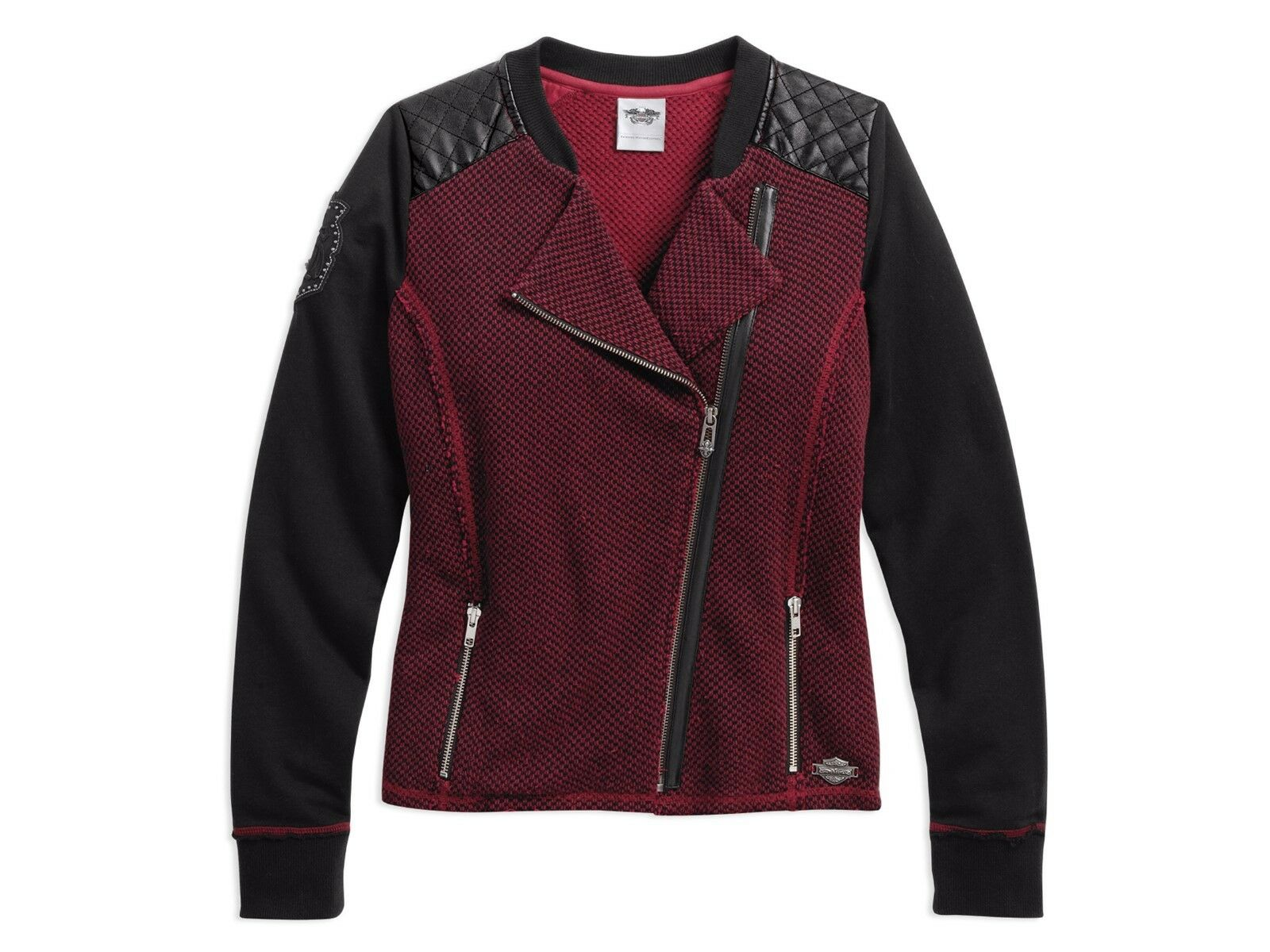 Harley-Davidson Womens M Two-Tone Style Full Zip Cardigan Red 96169-16VW