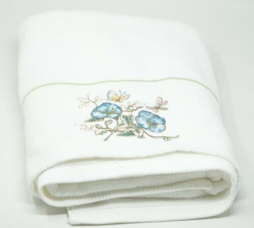 """Blue Lenox /""""Butterfly Meadow/"""" Flower Embroidered Cotton Bath Towel 27/"""" x 50/"""""""