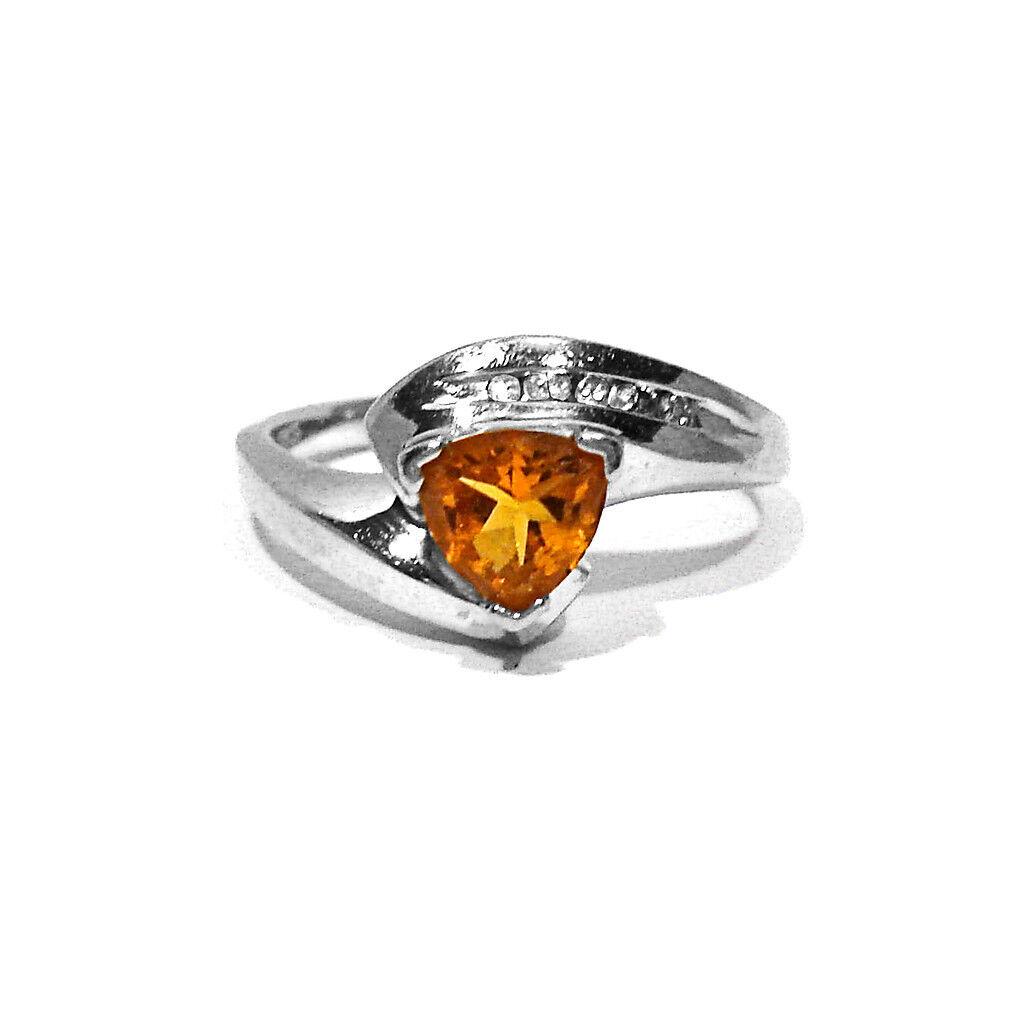 REIMAN SOLID 10K WHITE gold RIO GRANDE CITRINE & DIAMONDS RING  SIZE 7 1 4