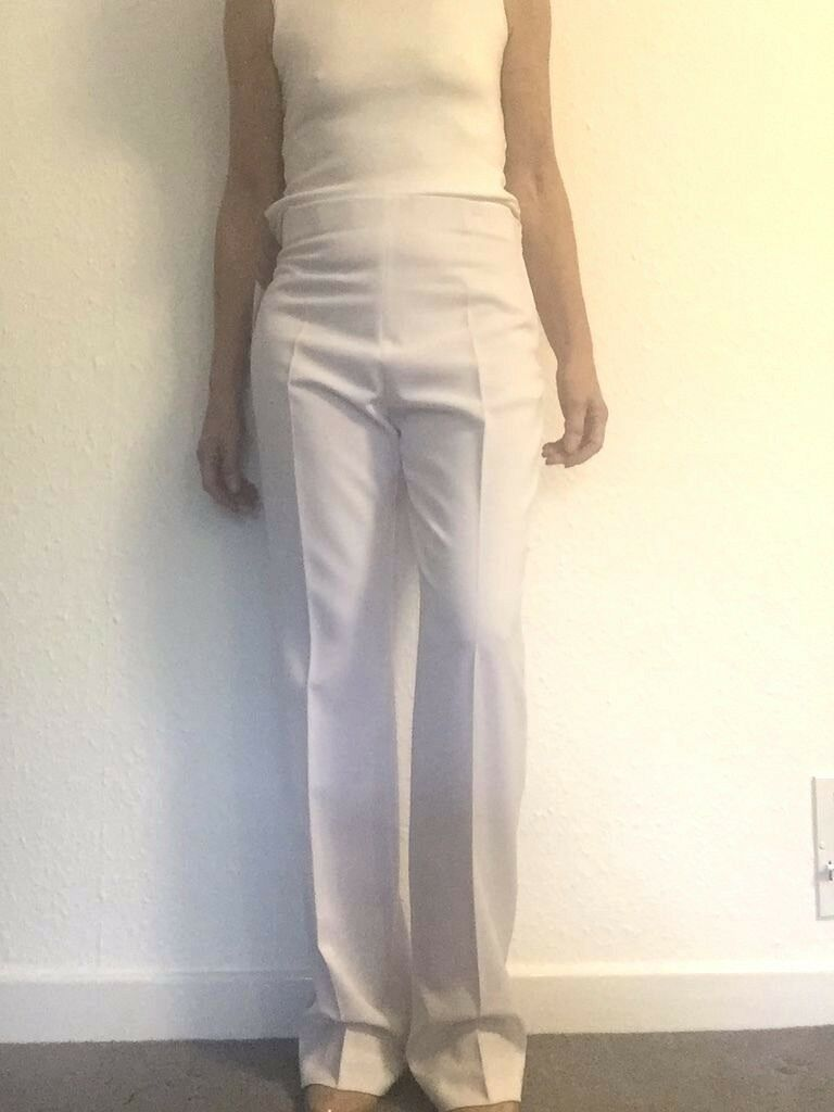 SALE French FICELLE ARCHA women's smart white trousers MEDIUM  (RRP )