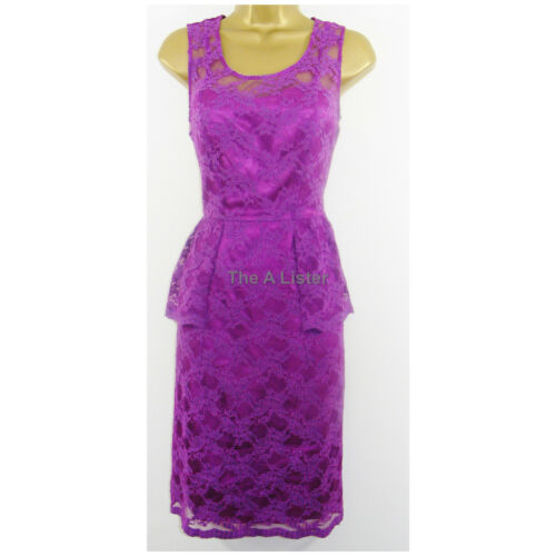 New £110 Pink Purple Lace Over Satin Dress Size 12 Party Formal Kaleidoscope