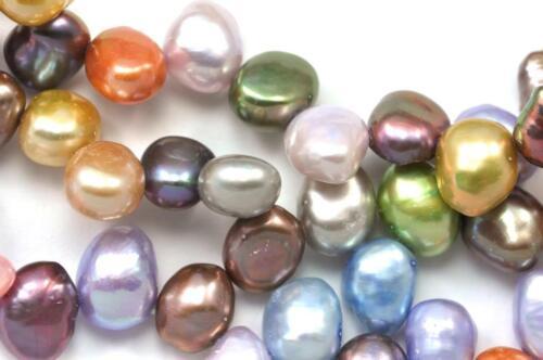 7-8 mm Mixed clours Side-Percés Tête-Percés Baroque Pépite D/'eau Douce Perles