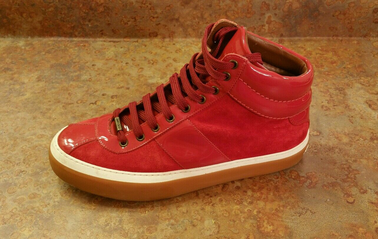 Jimmy Choo Belgravia Red Leather High Top Sneaker Mens Size 9 US 42 Eur MSRP$725