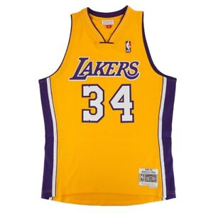 fe7b68a8 Shaquille O'Neal 1996-97 Los Angeles Lakers Mitchell & Ness Home ...