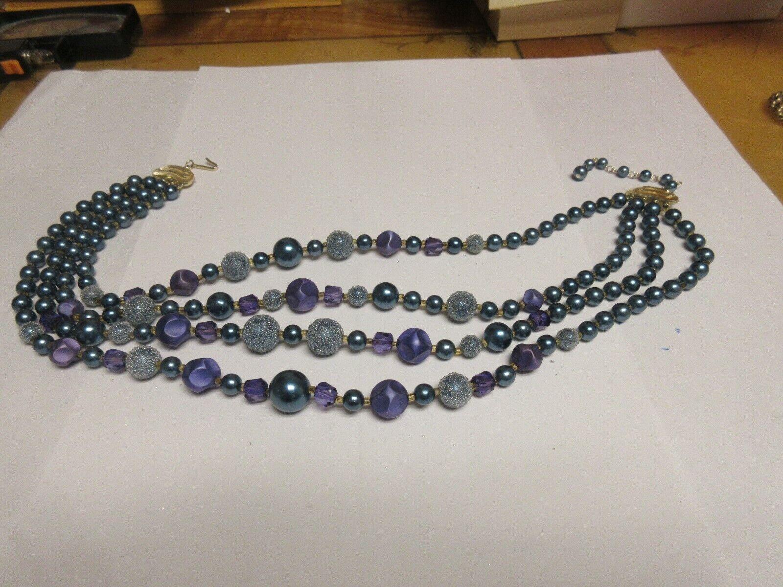 Costume Jewelry , NECKLACE ,Purple/Green/Gray , 4 Stran