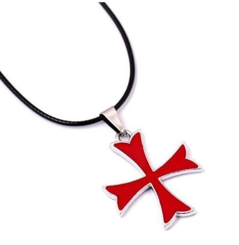 DZ1186 Assassin Chevaliers Templiers pendentif croix Collier en cuir PU Chaîne ☆