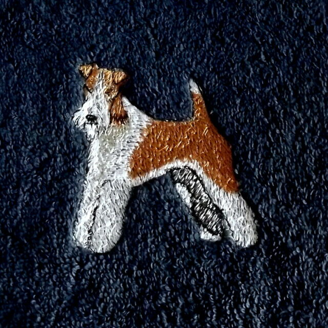 Fox Terrier Dog Embroidered Towels, Personalise, Dog Towel, Dog Gift