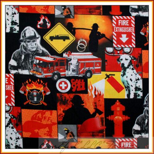 BonEful Fabric FQ Cotton Quilt Red Black US Fire Hydrant Truck B/&W Dalmatian Dog