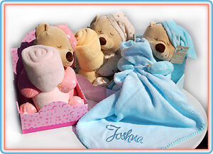 a99126a53b857 Details about Personalised Baby Blanket with Teddy Bear/Bedtime Bear/Blanket