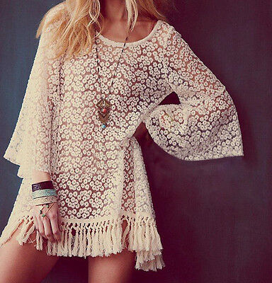 Dama Mujer Boho Hippie Blusa fringe festival Sleves Encaje Crochet Camisa Tops Q