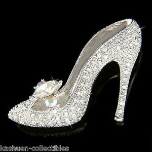 5a2b1fe15b6 Image is loading w-Swarovski-Crystal-Cinderella-Glass-Slippers-High-Heel-
