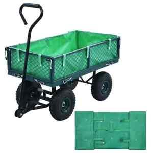 vidaXL Garden Cart Liner Green Fabric Hand Trolley Cover Tool Accessories
