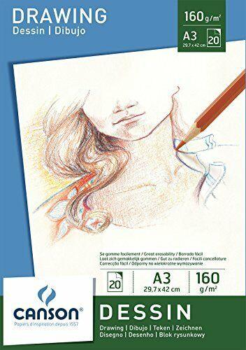 CANSON Zeichenpapier Block Malblock Skizzenblock DESSIN A3 160g//qm weiß 20 Blatt