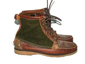 Filson-Sebago-Size-10-Boots-Kettle-Brown-Leather-Olive-Green-Wool-Mens-Lace-Up