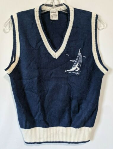 vtg 50s 60s Catalina ROCKABILLY Blue Gingham Check V-Neck Sweater Vest Top L