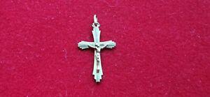 Croce-Religioso-Antica-in-Metallo-Dore-Placca-Oro-in-STATO-REF55277