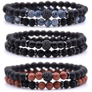 2PCS-Men-Women-Natural-Stone-Crystal-Bracelet-Elastic-Yoga-Balance-Beads-Bangle
