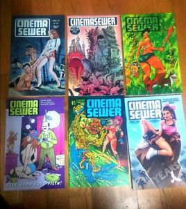 Cinema-Sewer-Magazine-lot-six-issues-Horror-Gore-Exploitation-Sleaze