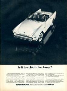 1962-Rootes-PRINT-AD-features-Sunbeam-Alpine-White-on-Black-Too-Chic-to-be