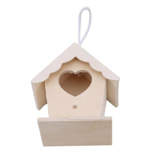 Wooden Small Bird Cage House Hanging Nest Nesting Box Home Garden Supplies T