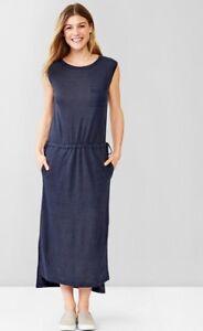Gap Linen Solid Tunic Knit Long Skirt Dress True Indigo