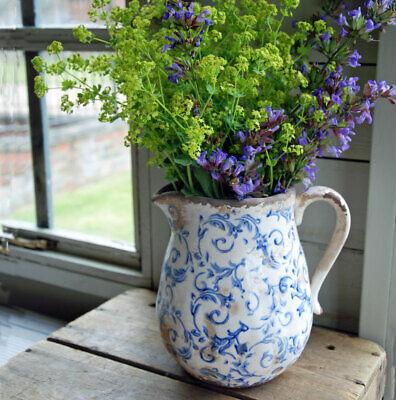 Shabby chic Hampton vintage green floral ceramic jug