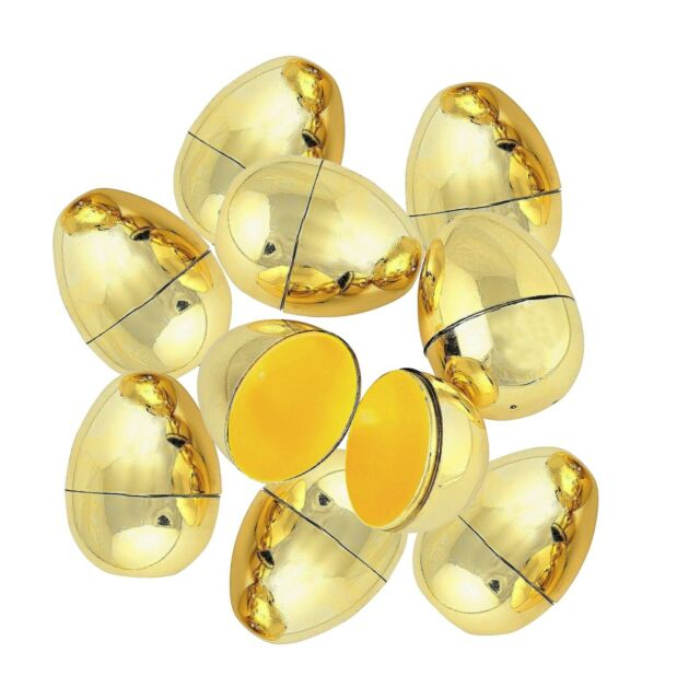 GOLD EMPTY FILLABLE PLASTIC EASTER EGGS 6CM PACK OF 12 EASTER HUNT PARTY CRAFT