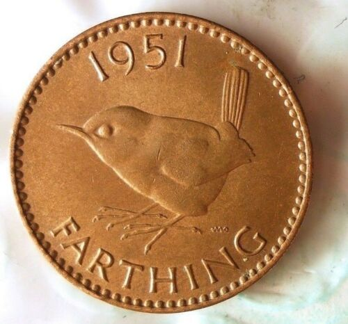 Excellent Coin 1951 GREAT BRITAIN FARTHING Farthing Bin #2 FREE SHIP