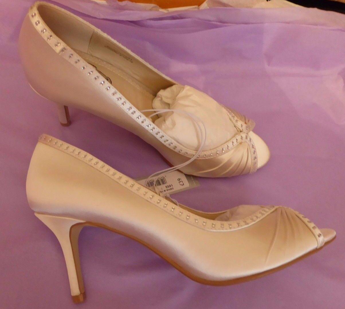 Debenham Debut UK6 EU39 US8 new ivory satin peep top diamante trim bridal shoes