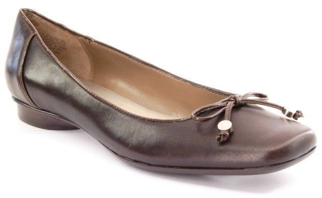 New CIRCA JOAN & DAVID Women Women Women Brown Leather Flat Slip On Dress Pump shoes Sz 8 M 700a80