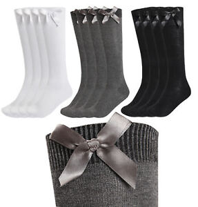 ae21e5546 4 Pack Girls Knee High School Socks With Bows Long Plain Cotton Rich ...