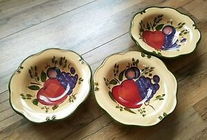 Home-Trends-3-Granada-Rimmed-Soup-Bowls-Fruit-Apple-Plum-Grapes-Discontinued