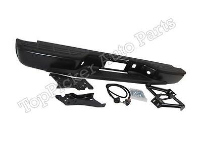 99-07 SILVERADO SIERRA 1500 2500 FLEETSIDE REAR BUMPER BLK W/BRACKET HITCH ASSY