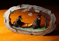 Faux Carved Lodge Birch Wood BLACK BEARS CANOE FOREST RIVER Figurine Cabin Decor