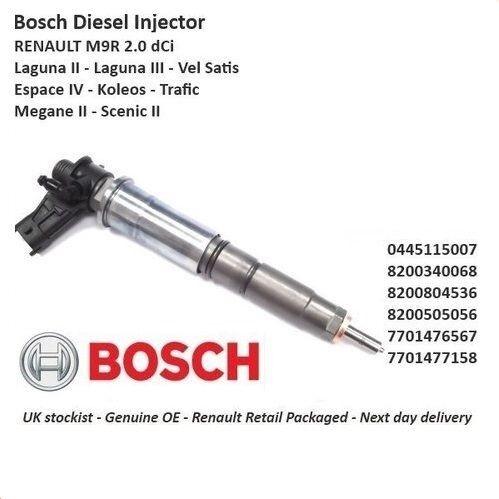 BOSCH Nuovo di Zecca Iniettore Carburante Diesel 0445115007 2.0 DCI M9R