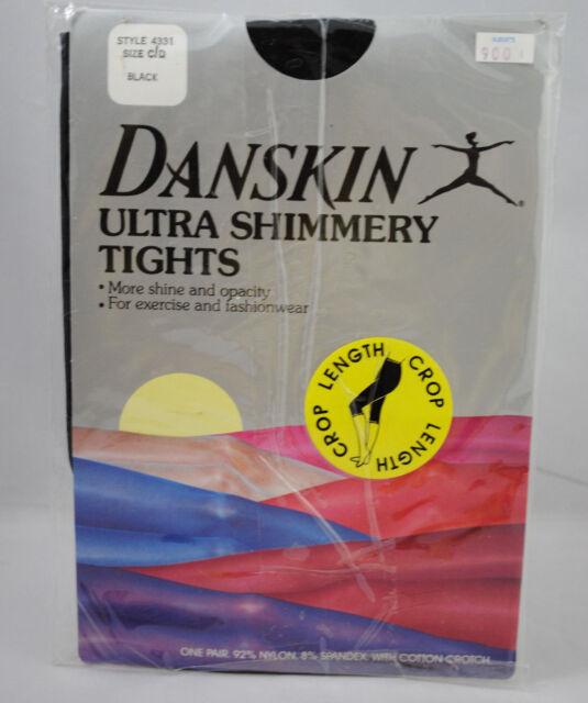 ca77247556d43 VTG Danskin Size C/D Black Ultra Shimmery Crop Length Footless Tights Dance  NOS