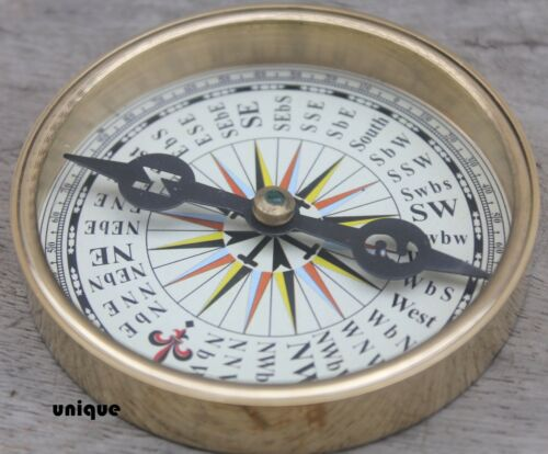 "3/"" Nautical Shiny Brass Flat Compass ~Vintage Marine Directional ~Pocket Compass"