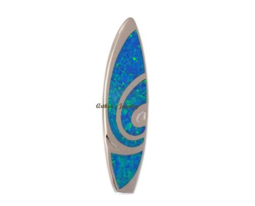 INLAY OPAL LARGE HEAVY HAWAIIAN SURFBOARD SLIDE PENDANT 925 STERLING SILVER