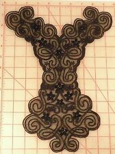 "Black beaded embroidered flower swirl applique antq gold accent 9"" x 13"" bodice"