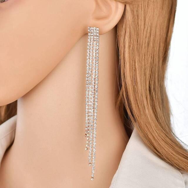 Women Tassel Dangle Earrings Sparkling Rhinestone Wedding Jewelry UK