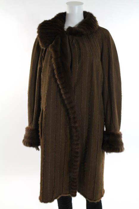 Designer Brown Mink Lined Reversible Coat Size Medium