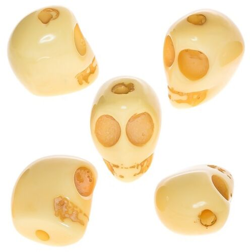D48//2 Yellow Resin Acrylic Gothic Skull Bead 19mm Pack of 5
