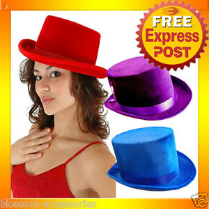 AS83-Mens-Womens-Velvet-Formal-Stage-Burlesque-Top-Hat-Costume-Accessory
