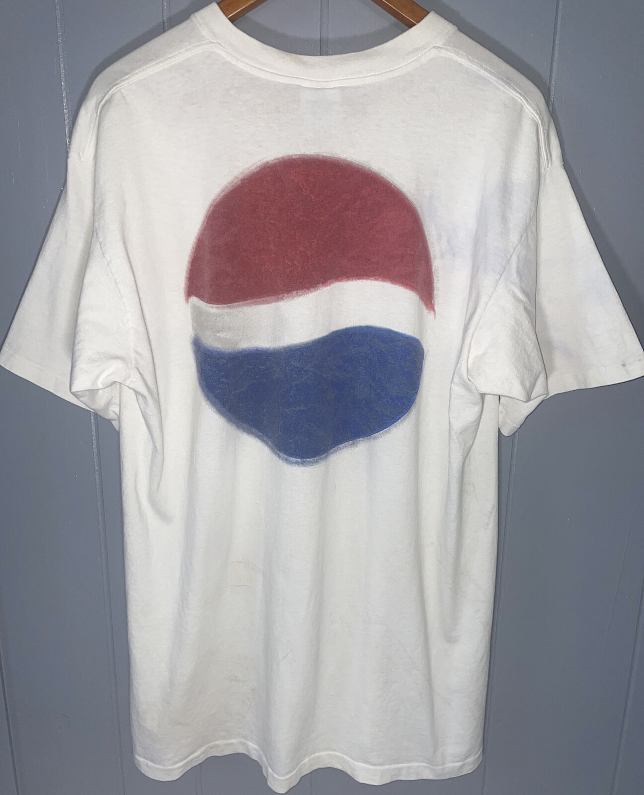 Vintage 90s Pepsi Soda Double Sided T-Shirt Size L/XL Single-Stitch Stained USA