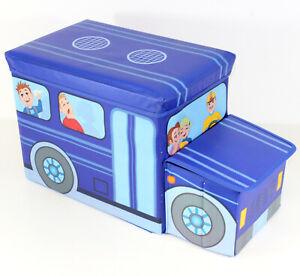 Spielzeugtruhe-fuer-Jungen-Schulbus-Spielzeugkiste-Aufraeumen-Hocker-BLAU-3133
