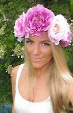 Puple & Peonia Rosa Fiore Capelli Corona Head Band Choochie Choo Hippy Boho