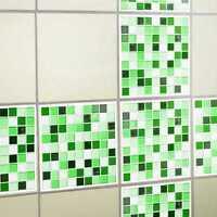 Fliesensticker mosaik gr n fliesenaufkleber 10x10 cm glas for Fliesensticker 15x15