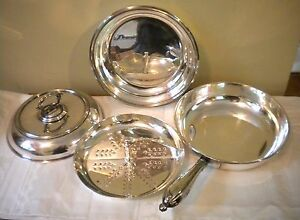Exceptional 4 Piece Goldsmiths London Silver Plate Server Handle Strainer 1898