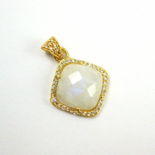 Gold Plated Cubic Zirconia Pendant 17mm Pave Bezel Gemstone Necklace Pendant